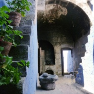 Inside one of the houses