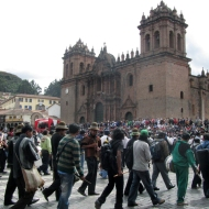 loads of people in front of the cathedral