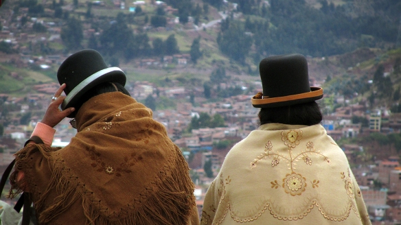 Two woman looking out over Cuzco