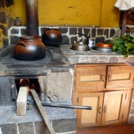 The kitchen, so beautiful. One part is heated up by fire and the other by gas, smart!
