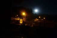 Coporaque at night.. the moon and a few lights on the streets :)