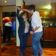 Kevin dancing with Sandras mom :)
