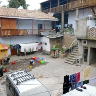 The yard at the hare krishna temple.. down there is the toilet.. haha