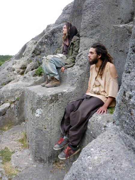 Meditating a bit on the rock. Weird formations.. how did they cut these??