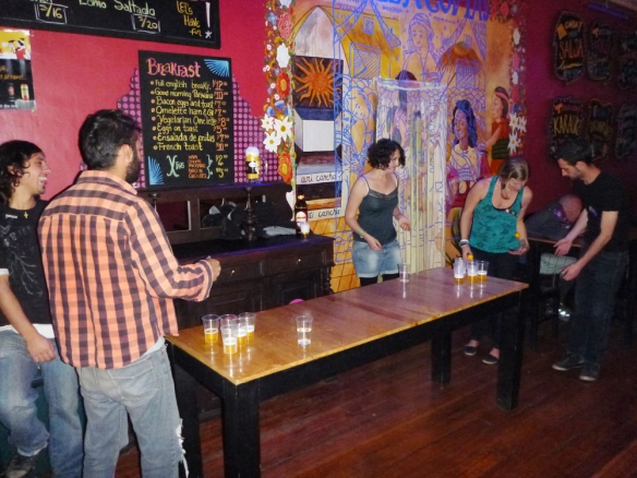 Playing beerpong... :)