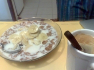 Duilio took this pic with his phone, because he thinks I eat weird breakfast :)