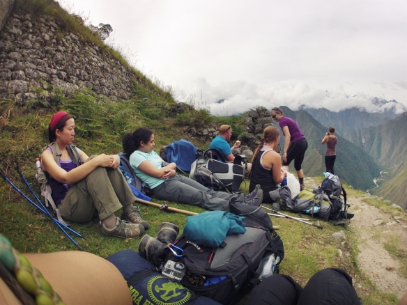 Having a break, soon reaching our last camping place just a couple of hours from Machu Picchu :)