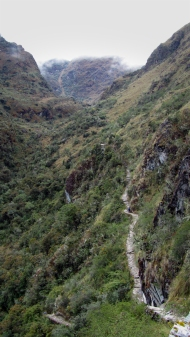 The Inca trail to Sayacmarca, we have trekked from the top up there to this place