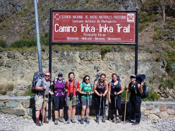 The first group picture exactly at the starting point of the Inka Trail!
