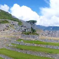 Panorama over the western part of Machu Picchu, probably meant for religious and ceremonial purposes