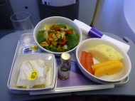 """Of course it was a mixup with the vegetarian food on the airplane, so there wasn't anything in my name.. like usually.. but the flight attendant said she would fix me something else, """"maybe some salad ot fruit""""... and I get this!! It was delicious. Thank you LAN, I really appreciate it, finally someone who is actually helpful and does something about it!"""