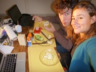 Our typical afternoon snack in the sunset with out computers haha :)