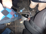 Here they throw the glass bottles on the floor.. sometimes they gather together and there are like 20 bottles at the same spot. And also it's normal to buy a whole bottle of champagne here! Haha