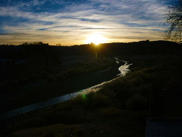 Sunrise in the border between Argentina and Bolivia. The river is the border.