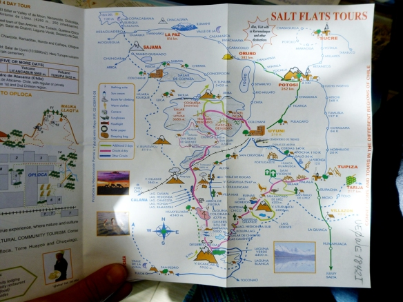 The pink route is our tour, the 4 day salt flakes tour. We are going to see some amazing things!