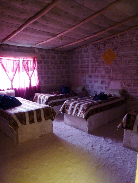 Our room at the salt hostel.