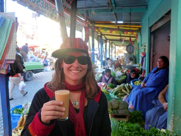 Having some great banana and papaya juice in the local market in La Paz