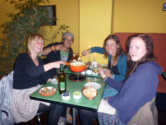 Having swiss fondue for the first time - in bolivia! With tristan and two german girls who I went on the city tour with