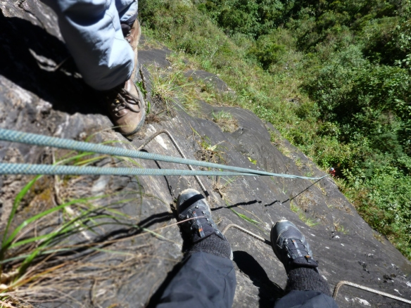 Freddy is doing rappel 30 metres down... and now it's my turn! (this isn't in the regular route but since we only were 2 on the tour we had plenty more of time to do more cool stuff)