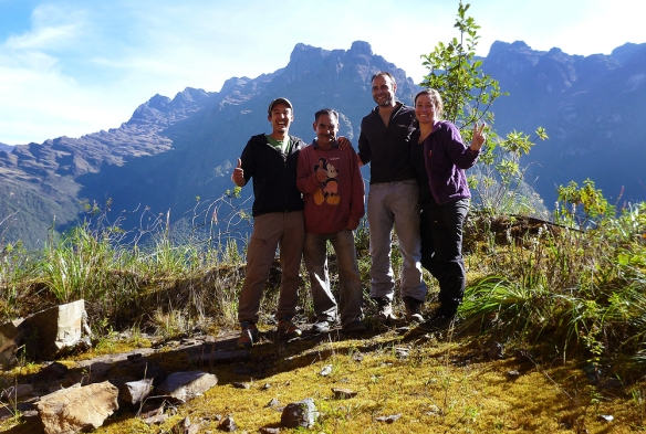 Group picture, Tristan, Freddy, Didac and Me in the beautiful surroundings of the Yungas Valley in La Paz, Bolivia