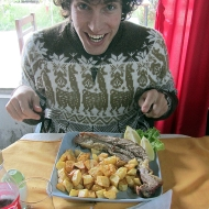 Duilio is super excited over his food... URGHHHH... he doesn't get much meat at home. Haha.
