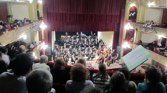 Last free concert of Trombonanza 2013, in the Teatro Municipal. So cool! Lots of people!