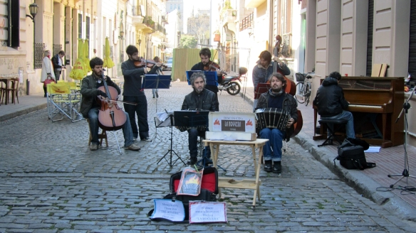A calm tangomusic-band in one of the streets in San Telmo