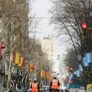 The whole street have spanish flags on one side and argentinian flags on the other side!