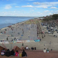 The Parana-river and a cemented pave-way where people scate, bycicle, rollerskate etc.