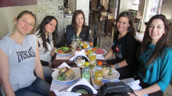 Eating at a ecological restaurant - really good food. We were so hungry in this picture! Haha