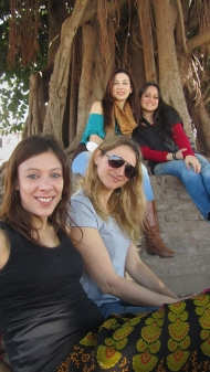 Gisela in front, Eugenia with the sunglasses, Veronica in the back in turqoise swater, and Chechu to the right. :)