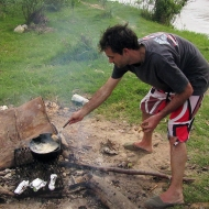 Seba frying fish!
