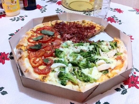 Our very good pizza with 3 different flavors and borders filled with cheese!