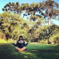 Meditating under some brazilian pine trees