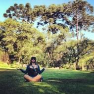 Meditating under some brazilian pine trees