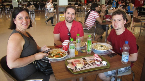 At a shopping mall having lunch with Catrin, Rafa and Vilnius. Yes, they are family! Aren't they alike!