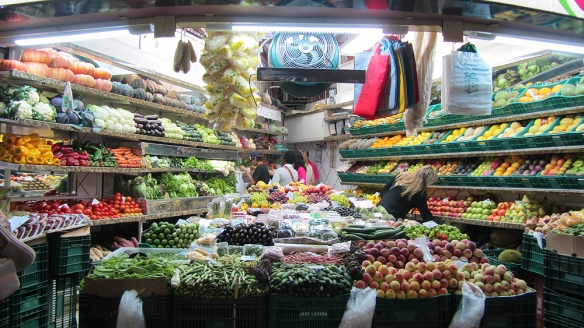 In the local market. Love the fruits and vegetables!