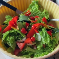 My salad with some tree leaves and flowers from the garden :)