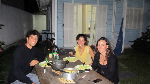 Very proud of our dinner :) Miguel, Leonor and me outside their house. We all have nice shiny faces too! Hahah
