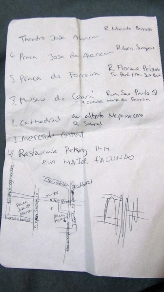 I didn't dare to walk around with my Iphone, so I did my own little map with what I was supposed to visit today... haha