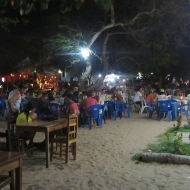 At night the bars and restaurants get crowded