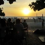 Having acai in the sunset