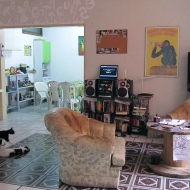Living room in the republica, with a white wall and projector as a TV :)