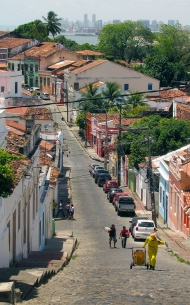 One of the streets in Olinda. Hills!