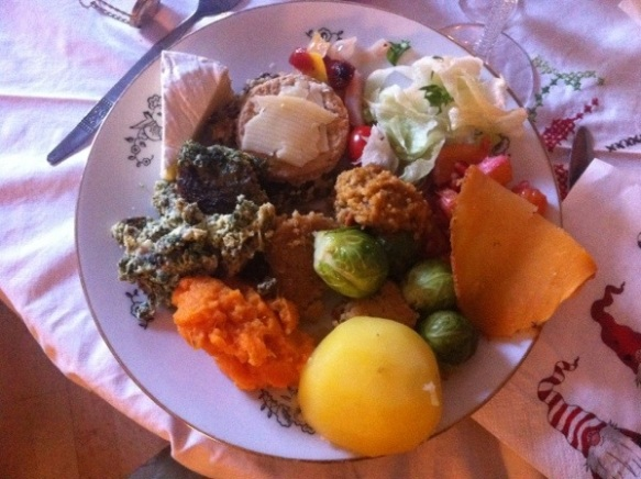 My plate! LOVE our veggie christmas food!!