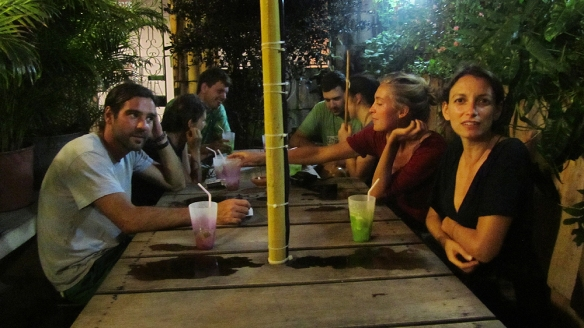 Free cairpirinhas night at the hostel. Hanging with the french people :)