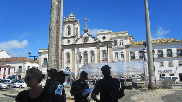 Guards, Filipina, and the Cathedral Basilica