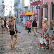 """Tourists and some """"normal"""" people doing capoeira haha"""