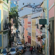 Cobblestoned streets and colorful houses