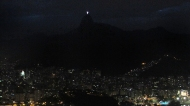 Rio at night, the white thing is Christ the redeemer
